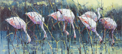 Flamingoes | 2016 | Oil on Canvas | 40 x 72 cm