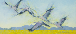 Blue Cranes in the Overberg | 2016 | Oil on Canvas | 34 x 60 cm