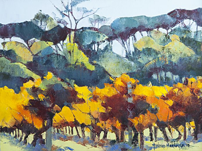Nature's Stained Glass Window - Autumn Vines at Oude Libertas | 2013 | Oil on Canvas | 30 X 40 cm